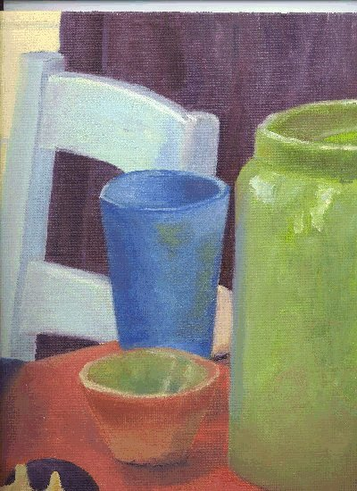 bright colored still life, oil
