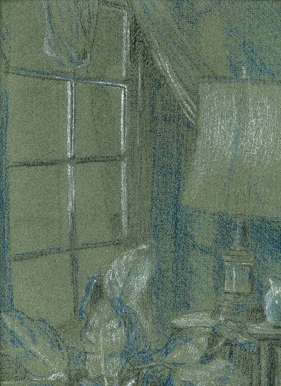 section of a drawing, pencils on green paper