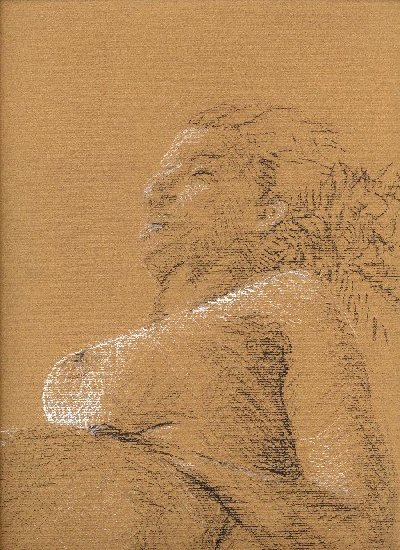section of a drawing of nude female