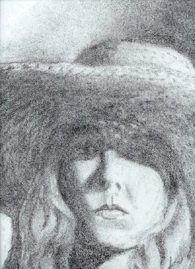 self portrait in a hat, charcoal