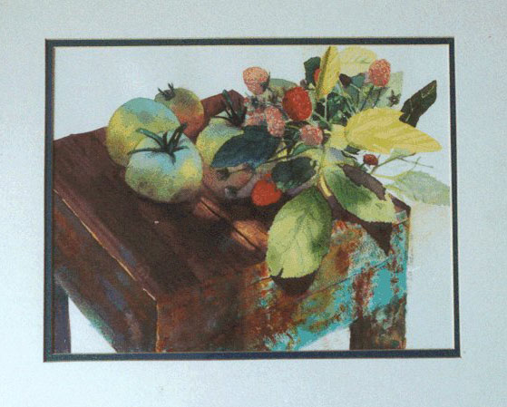 tomatoes and berries, watercolor